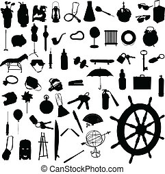 objekt, blanda, vektor, silhouettes