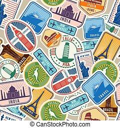 objekt, resa, pattern., invandring, seamless, vävnad, frimärken, vektor, kulturell, historisk, design, resor, klistermärken, visum
