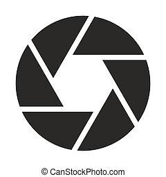 objektiv, fotoapperat, (symbol), ikone