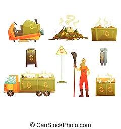 objet, autour de, déchets, icônes, disposition, recyclage, apparenté, clair, ensemble, gaspillage, encaisseur, dessin animé, homme