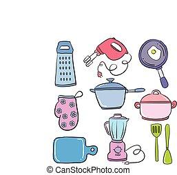 objet, ensemble, collection, cuisine