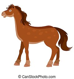 objet, illustration, fond, ferme, blanc, brun, vecteur, cheval, isolé, plat
