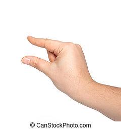 objet, mâle, isolé, tenant main
