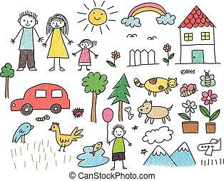 objet, maison, famille, autre, voiture, animal, dessin, gosse