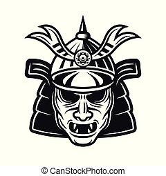 objet, masque, japonaise, traditionnel, samouraï, vecteur