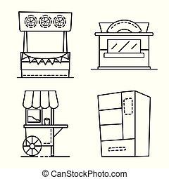 objet, vente, vecteur, signe., stock., icône, public, ensemble, isolé, storefront