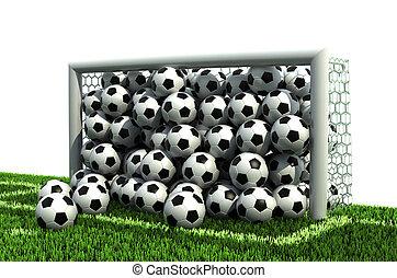 objetivo del fútbol, lleno, pelotas