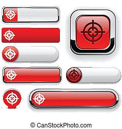 objetivo, high-detailed, modernos, buttons.