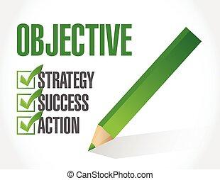 objetivo, lista conferição, ilustração