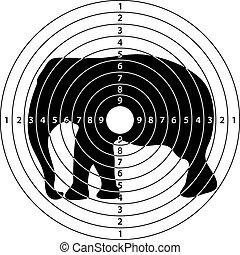 objetivo que dispara, elefante