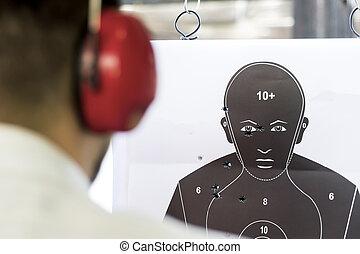 objetivo que dispara, negro, humano, silueta, con, agujeros