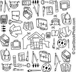 objeto, escuela, educación, doodles