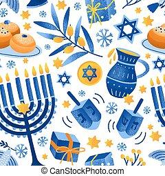 objeto, fiesta, caricatura, plano, paloma, estrella, hanukkah, vario, illustration., decorativo, colorido, pattern., vuelo, seamless, feriado, elementos, velas, david, vector, menorah, judío, luces