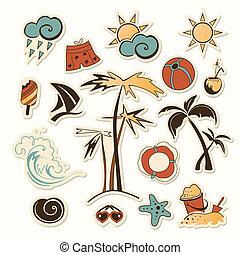 objeto, ilustração, vetorial, cobrança, mar, praia