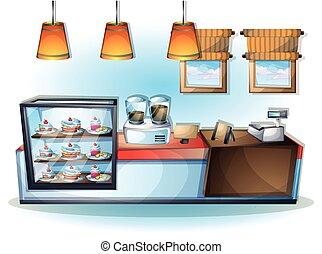 objeto, ilustración, vector, interior, café, caricatura