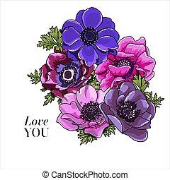 objeto, vetorial, element., papoula, tudo, flor, anêmona rosa, luminoso, grupo, elementos, boho, mão, elegante, card., flores, buquet, roxo, desenho, desenhado, casório, floral, rústico, editable., violeta