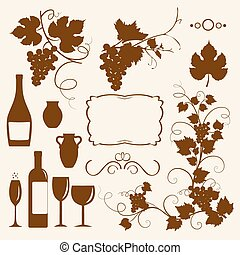objeto, winery, silhouettes., desenho