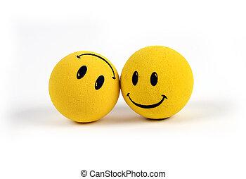 objetos, -, amarela, smiley enfrenta