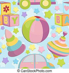 objetos, bebé, seamless, plano de fondo