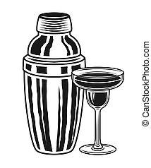 objetos, coctelera, vidrio cóctel, vector, margarita
