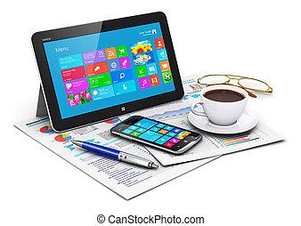 objetos, computador, tabuleta, negócio