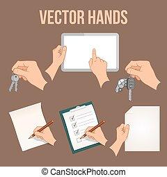 objetos, conjunto, manos de valor en cartera