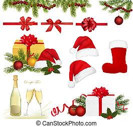 objetos, conjunto, navidad