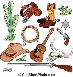 objetos, conjunto, vaquero