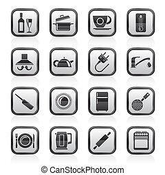 objetos, cozinha, ícones