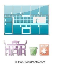 objetos, cozinha, mobília