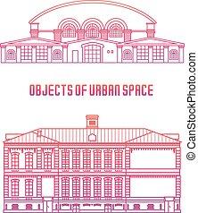 objetos, de, urbano, espaço