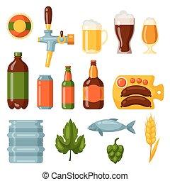 objetos, diseño, cerveza, conjunto, icono