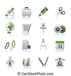 objetos, escritório negócio, ícones
