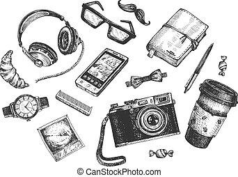 objetos, hipster, conjunto