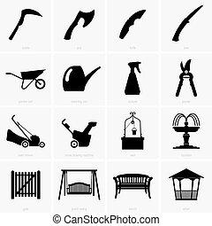 objetos, jardín