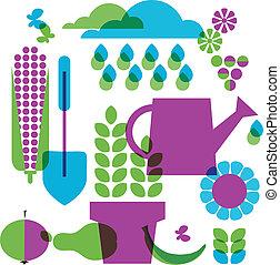 objetos, jardim, modelo