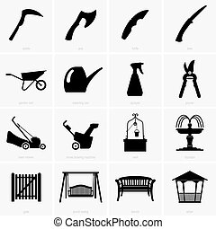 objetos, jardim