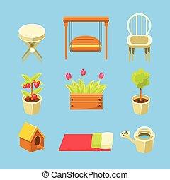objetos, jogo, jardim