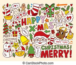 objetos, natal, cobrança, ícones