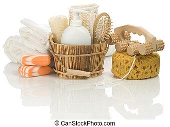 objetos, para, el bañarse, aislado