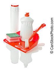 objetos, para, limpieza, aislado