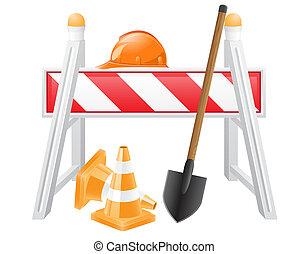 objetos, para, road works, ilustración