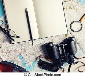 objetos, para, viaje