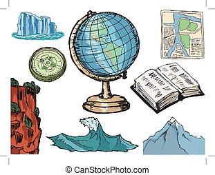 objetos, relacionado, geografía