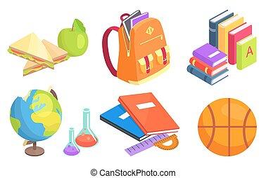 objetos, school-related, cobrança, ilustração