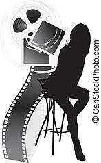 objetos, silueta, hembra, película