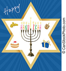 objetos, tarjeta, hanukkah