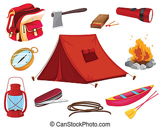 objetos, vário, acampamento