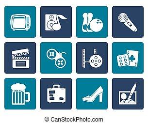 objets, activité, loisir, icônes