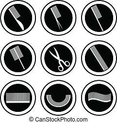 objets, apparenté, coiffure